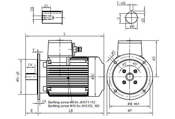 Dimension Drawing Flange Mounted Flame Proof Motors
